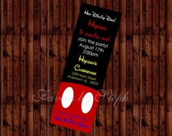 PRINTED qty 30 Birthday Ticket Style Invitations - Mickey Mouse