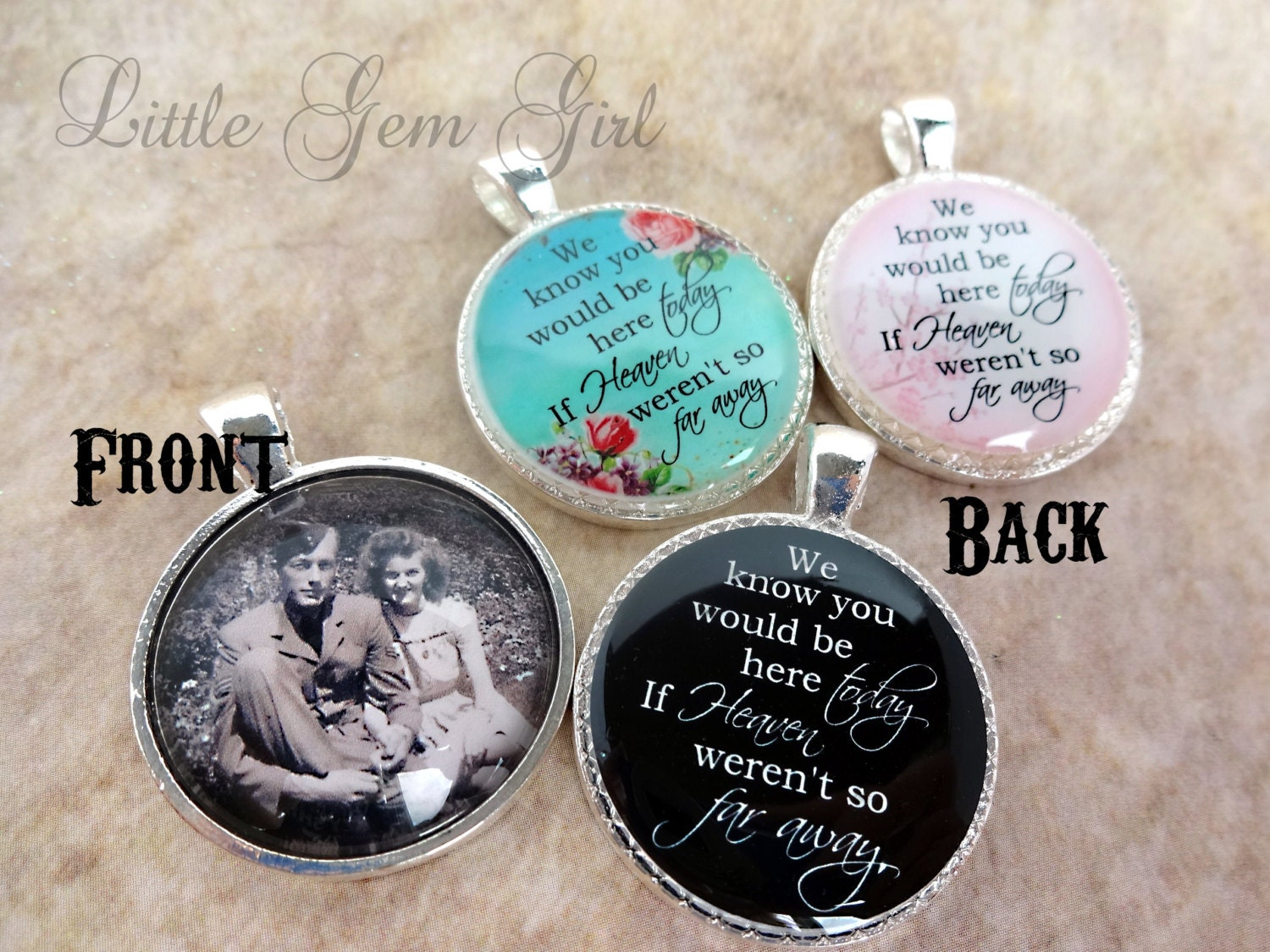 wedding bouquet photo memorial charm double by littlegemgirl