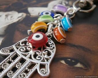 Hamsa Hand and Evil Eye CHAKRA Beaded Purse Charm - Balance of Energy, Yoga Bag Accessories, Key Ring, 7 Chakra, Protection, Good luck fob