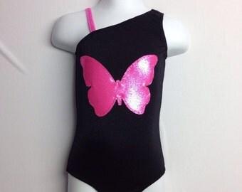 Gymnastics leotard. Black with mystique butterfly, A-symmetrical strap.