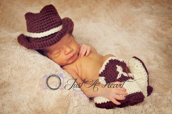 Crochet Cowboy Hat and Boot Set - Newborn Photo Prop - Cowboy Photo Prop