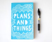 Hand Painted Moleskine, Aqua Blue Journal, Plans and Things, Hand Lettering, Lined Pages, Doodle Illustration, Ready to Ship - EmDashPaperCo