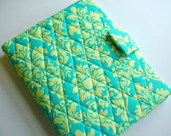 iPad/iPad air cover/Kindle HD 8.9/10 inch cover/Samsung Tab A quilted in Michael Miller's Dandy Damask Lagoon Blue
