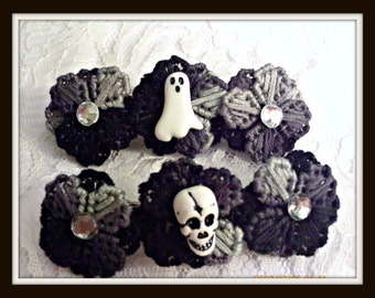 Gothic Black and Gray Flower Skull Or Ghost Barrette