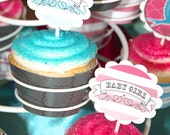 PDF Chalkboard Art, Little Birdy Gender Reveal- Cupcake Topper and Wrapper Printable DIY