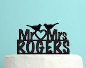 Love Birds Wedding Cake Topper - Personalized Cake Topper -  Last Name Wedding Cake Topper -  Custom Colors - Peachwik Cake Topper - PT24