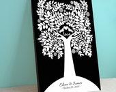 Wedding Guest Book Canvas - Charmwik Wedding Tree - Peachwik Interactive Canvas 275 guests - Love Bird Tree - Wedding Gallery Wrapped Canvas