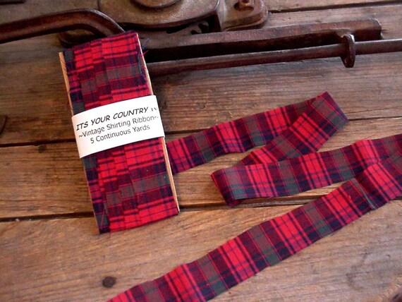 Plaid Shirting Ribbon Vintage Christmas Holiday Red Plaid Handmade Fabric Ribbon Trim Embellishment 5 Yards SALE itsyourcountry