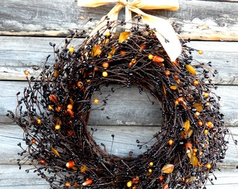Halloween Wreath-Fall Wreath-BLACK CANDY CORN Door Wreath-Rustic Home Decor-Holiday Wreath-Primitive Country Decor-Choose Scent and Ribbon