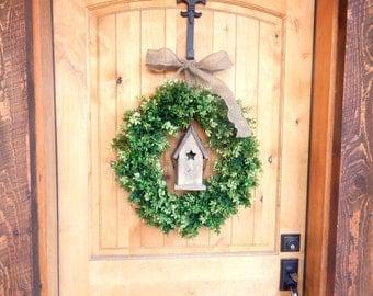 Summer Wreath-BIRDHOUSE BOXWOOD Wreath-SCENTED Wreaths-Artificial Boxwood Wreath-Summer Door Decor-Year Round Wreath-Outdoor Wreath-Gifts