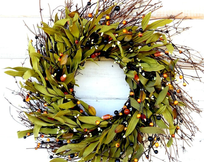 Featured listing image: Fall Wreath-FALL TWIG Door Wreath-Autumn Wreath-Rustic Wreath-Fall Home Decor-Scented Pumpkin Spice-Fall Wreaths-Custom Made Wreaths-