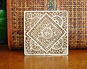 Hand Carved Wood Stamp: Clay Stamp, Indian Printing Block, Large Square Wooden Ceramic Textile or Pottery Stamp, Mehndi Henna Stamp