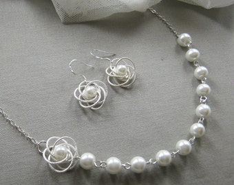 SET of 6 Silver twisted flower pearl necklace and earring SET, bridesmaids necklace, wedding jewelry - W012S (Choose your pearl colour)