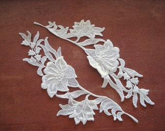 Venice Lace Embroidery Appliqués White Color 2 Pieces Of The Same Side.
