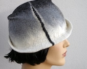 Retro flapper hat gray felt cloche with silk, womens hat, 1920s inspired hat, art deco fashion, vintage inspired