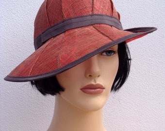 Flapper hat, red and brown sinamay cloche, sun hat, wedding hat, retro, 1920s vintage inspired, garden party, bridesmaid hat, great Gatsby