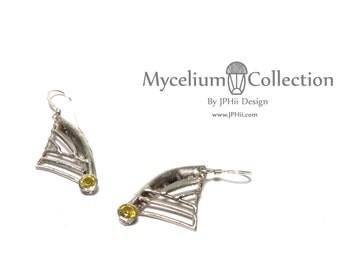 Topaz Mycelium Filigree Silver Earrings
