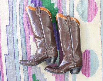 5 / Vintage Cowboy Boots / Tony Lama Tall Boots / Women's Western Shoes