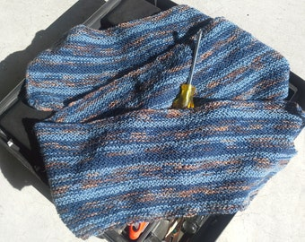 Mens or Womens Blue Striped Wool Scarf - Winter Warm & Nice Hand Knit in Blues Brown Beige Neckwarmer (Ready to Ship)