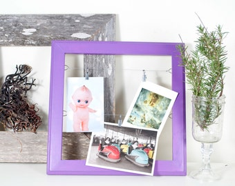 Photo Display Frame, Card Display, Idea Board with Clips and Wire, Wood Frame, Purple Plum