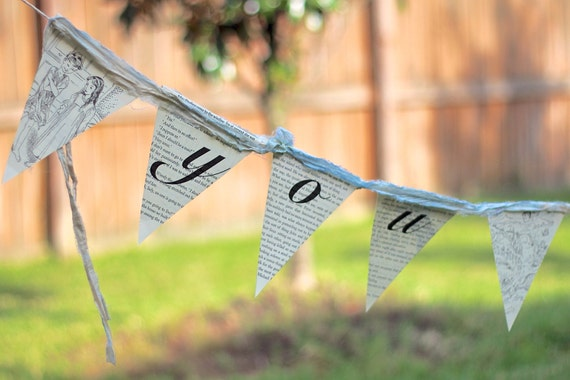 bunting / paper garland / upcycled book pages / Peter Pan / you can fly / home decor / nursery / shabby cottage style