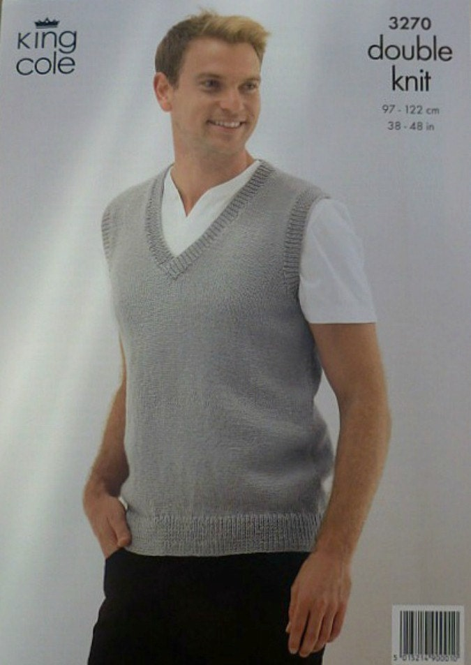 Knitting Pattern V Neck Sleeveless Jumper : Mens Knitting Pattern K3270 Mens V-Neck sleeveless Jumper Mens