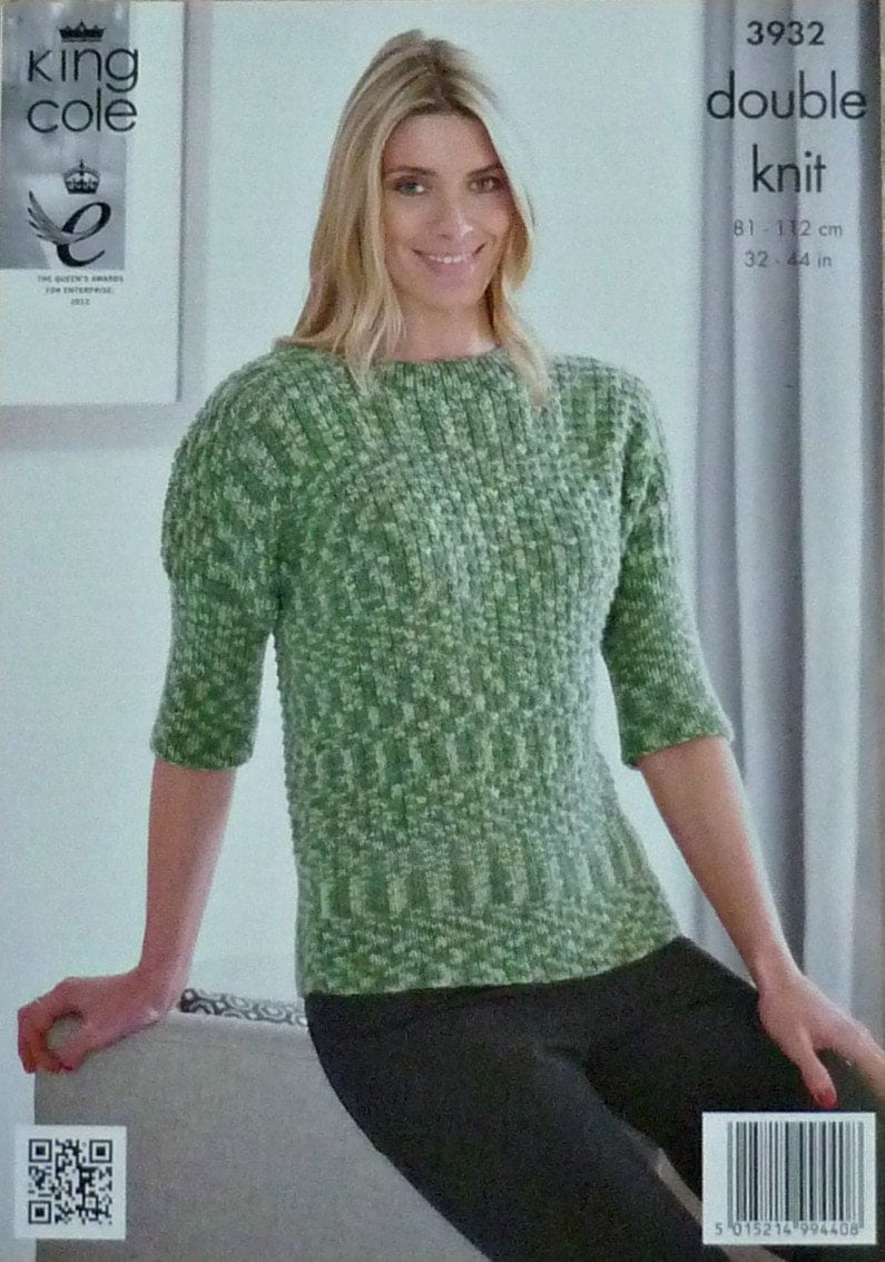 Knitting Pattern Ladies Short Sleeve Jumper : Womens Knitting Pattern K3932 Ladies Short Sleeve Fancy Rib Jumper Knitting P...