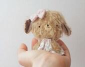 Frida little puppy plush - made to order - mohair bear, artist bear, blythe bear, kawaii, miniature bear, decoration, colectible