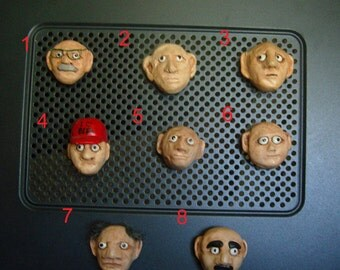 "Crazy Face  Magnet ""Funky Uncle"" Series OOAK Gift Idea"