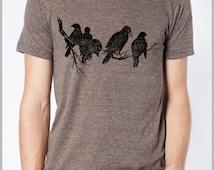 Birds on a Limb Mens Nature T shirt Womens Unisex Tee American Apparel Tshirt XS, S, M, L, XL 9 COLORS Nature Raven Tee