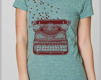 Freedom of Speech Women's T Shirt Vintage Typewriter Birds Writer's Gift Tee American Apparel Tee s, m, l, xl  8 COLORS