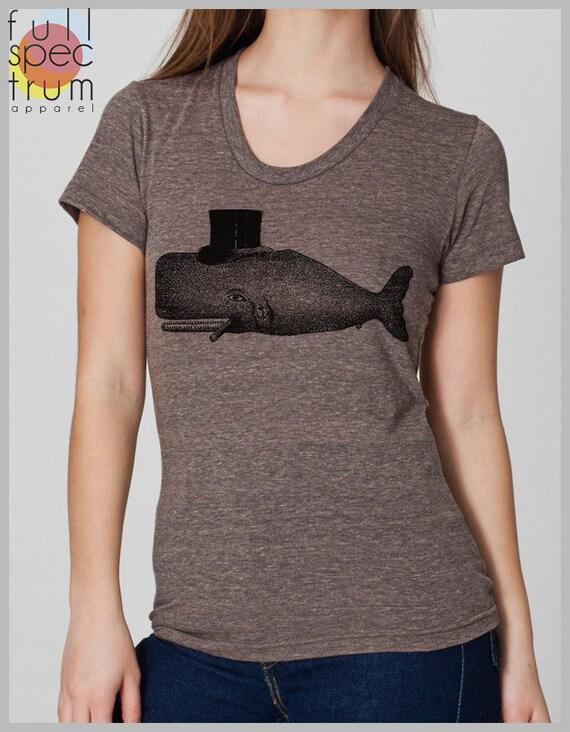 Women's T Shirt Whale Tophat American Apparel S, M, L, XL 8 Colors