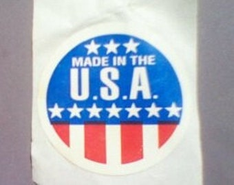 Rare Vintage Made in USA Sticker old school original Red White Blue Stars Early United States of America