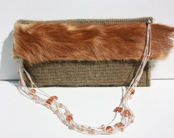 green crocheted clutch with real fur and beaded chain