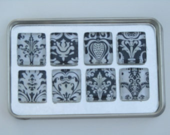 Damask Magnets, Magnet Set of Eight with Storage Tin