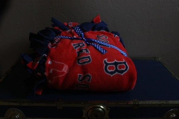 Large Handmade Red & Blue Boston Red Sox Fleece Tie Blanket Gift Wrapped w/ bow Christmas Present Idea Christmas Gift for men