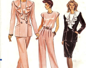Vintage UNCUT Vogue Pattern 7671 Misses Jacket, Skirt, Pants & Top 8-12