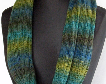Green Striped Infinity Scarf Cowl Wrap Mustard Yellow Blue Moss