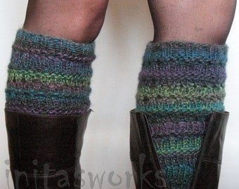 Boot Cuff Boot Toppers Leg Warmers Striped Multicolored Boot Socks Knit Legwarmers Cable Knitted