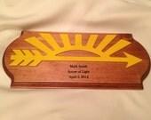 Cub Scout Arrow of Light Award #2 Pine Plaque