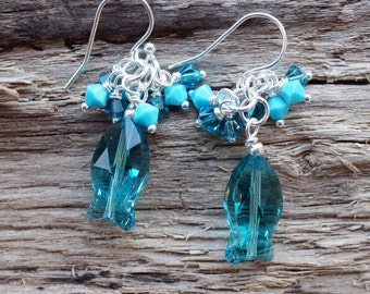 Earrings Sterling Silver Swarovski Crystal Fish Dangle Blue Teal Turquoise