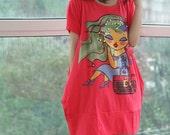 lovely oversized short sleeved dress/ Watermelon Red