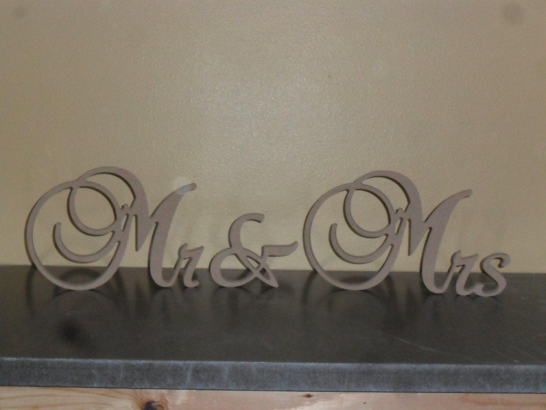 Mr & Mrs 8 Tall 3/4 Thick Brock Script Wooden Mr