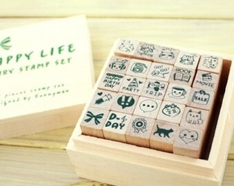 Happy Life Cute Stamp Set(25 stamps in wooden box)