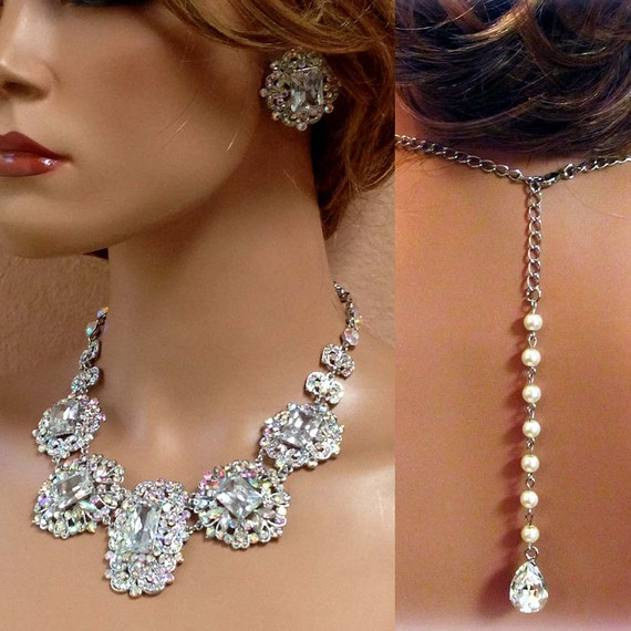 Wedding Jewelry Set Bib Necklace And Earrings Vintage