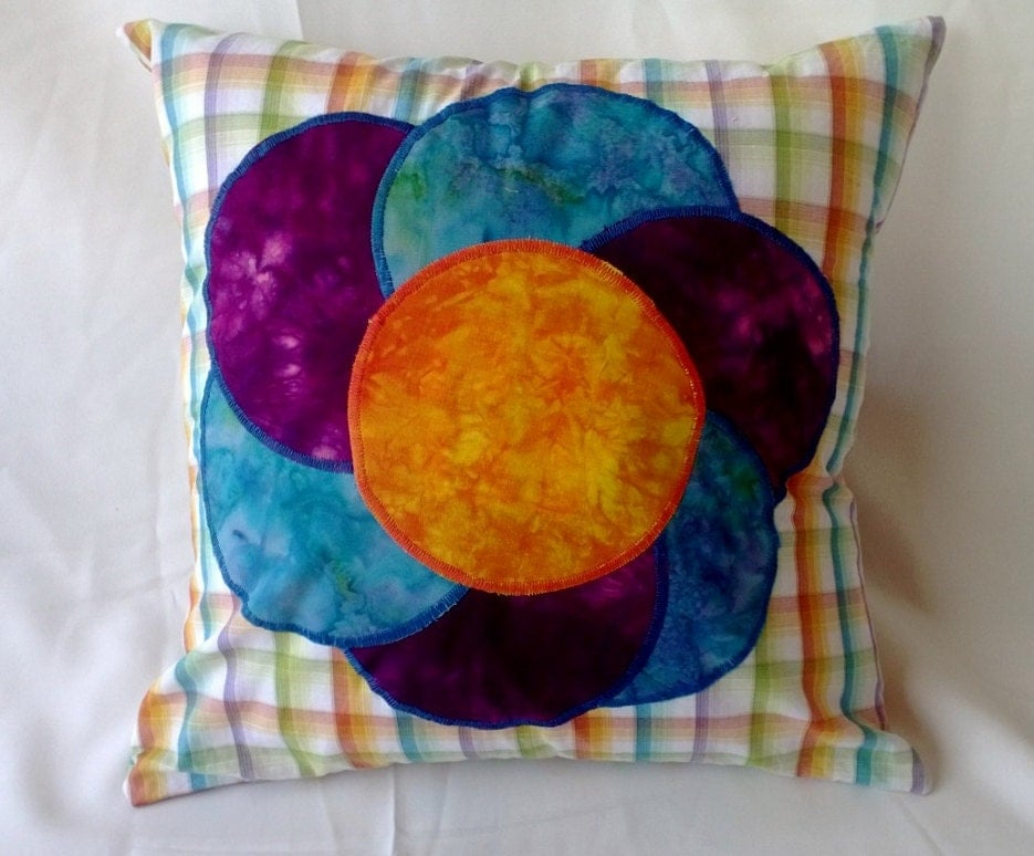 Large Flower Throw Pillow : Large Bright Flower Throw Pillow Cover 14 X 14 Purple Blue