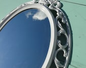 "Large Ornate Vintage Oval Mirror Wall Mirror Bright White Frame Nursery or Romantic Wedding Prop French Country ""Fresh and Clean"""