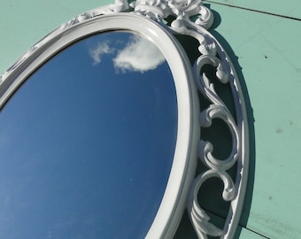 """Large Ornate Vintage Oval Mirror Wall Mirror Bright White Frame Nursery or Romantic Wedding Prop French Country """"Fresh and Clean"""""""