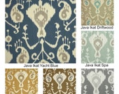 "Two 50"" Wide Panels Java Ikat Yacht Blue Curtains Custom Drapes Barley Umber Pewter Driftwood Spa Choose Your Length"