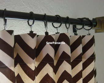 "Pair of 25"" Wide Village Brown and Natural Zig Zag Chevron Drapes Curtains Choose your length"